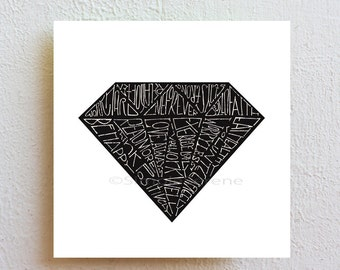 Geometric Art Print Black Diamond, Quote Art Poster, black and white typography print, back to school gift for teens, college dorm decor