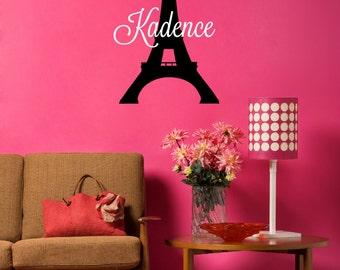 Paris Eiffel Tower Decal - Paris France Decor - Eiffel Tower Decor - Girls Name Decal - Personalized Name Decal - Name Decal - Teen Name