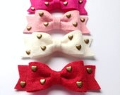 Wool Felt Bow with Brass Heart Studs on Elastic Headband OR Clip - Medium Bow Size - Your Choice of Color