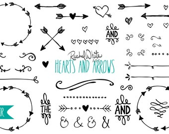 Hearts & Arrows Vector Illustrations - 84 images - Black, White - AI EPS PNG - Instant Download