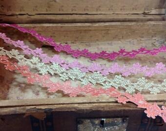 adhesive sparkly metallic floral ribbon