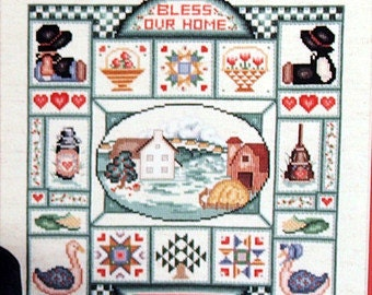 A Country Sampler Lancaster County Pennsylvania Counted Cross Stitch Folk Art Charted Design