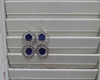 Vintage Blue Flower Earrings with Silver Filled Hoops - READY TO SHIP - Blue Flower Earrings - Sterling Silver Earrings