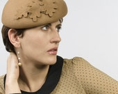 Camel Colored Wool Felt Beret  decorated with Leaves