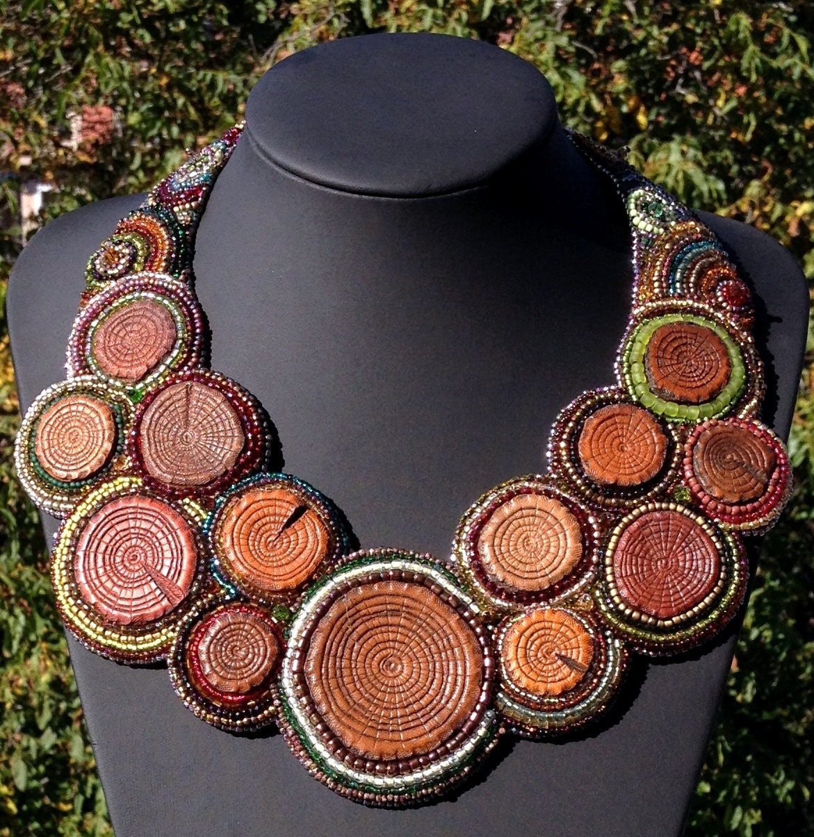 Handmade boho necklace tooled leather and bead embroidery