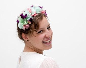 Wedding flower crown, pink floral headband, bridal floral crown, boho flower crown, mint floral head wreath, purple pink mint headband