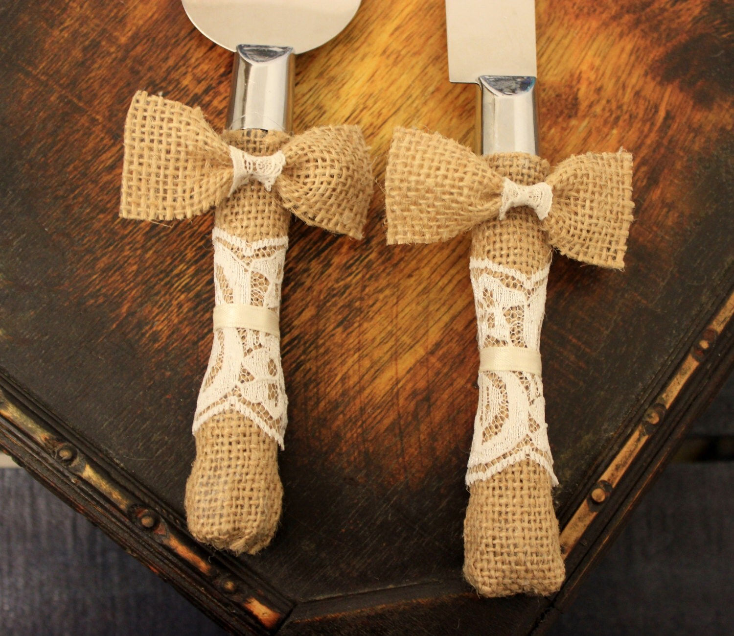 Wedding Cake Server And Knife Burlap And Lace Wedding Cake