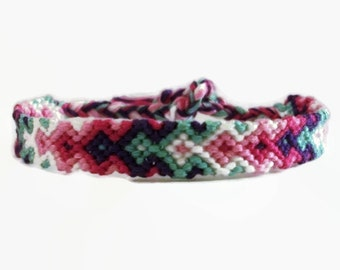 Spring Colored Arrowhead Pattern Embroidery Macrame Friendship Bracelet, Spring Arrow Friendship Bracelet