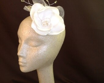 IVORY SATIN FLOWER Hair Fascinator Ornament