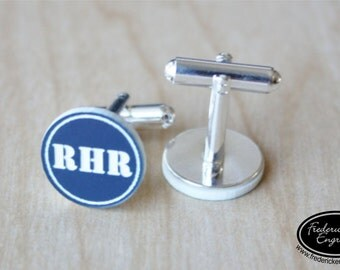 Engraved Cuff Links - Custom Initial Cufflinks - Personalized Cuff Links - Two Tone Block Initials - CF-19