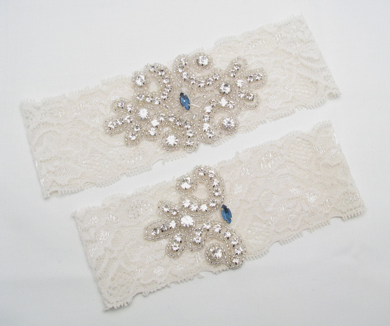 Something Blue For Wedding: Something Blue Wedding Garter Lace Bridal Garter Crystal