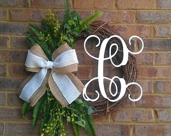 Custom Fern Greenery Outdoor Summer Wreath Monogram Grapevine Wreath with Burlap Bow