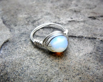 Opalite Ring, Opalite Stone Ring, Wire Wrapped Ring, White Ring, Wire Wrapped Jewelry Handmade, Silver Ring, Gemstone Ring, Chunky Ring,