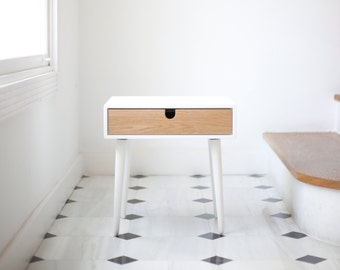 White nightstand / Bedside Table,  Scandinavian Mid-Century Modern Retro Style with 1 or 2 drawers made of oak wood