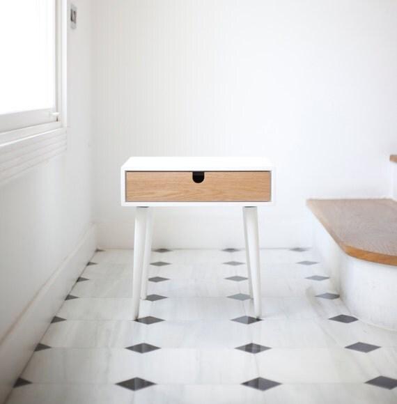 Wit nachtkastje nachtkastje scandinavische van habitables op etsy - Moderne nachtkastje ...