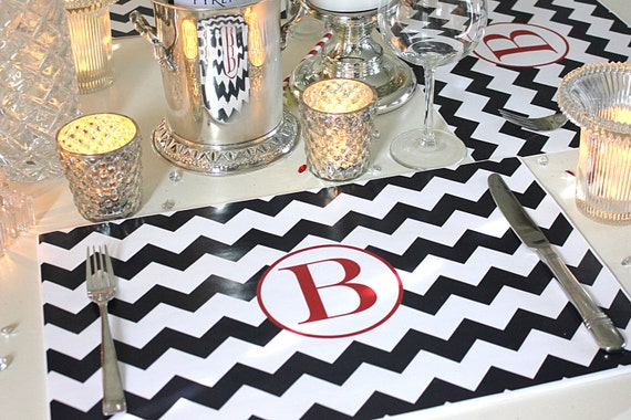 Personalized Chevron Paper Placemat PACKAGE - Chevron Monogram Paper Placemat