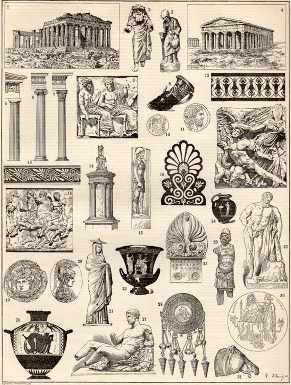 griechische kunst antique print 1897 lithographie. Black Bedroom Furniture Sets. Home Design Ideas