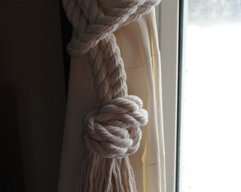 Nautical Decor - Nautical Cotton Rope Curtain Tiebacks - 3/4 Inch Cotton Rope - (this is per pair)