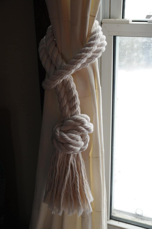 Nautical decor nautical cotton rope curtain tiebacks by oyknot - Nautical rope decorating ideas ...
