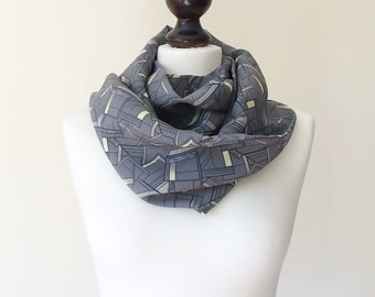 Gray Circle Scarf, Boho Printed Scarf, Geometric Loop Scarf, Satin Scarf, Infinity Scarf, Women Scarf, Christmas Gift