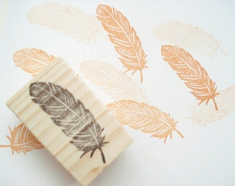 Feather rubber stamp, DIY wedding, Feather invitations, Wedding feather stamp, Wrapping paper idea, Custom rubber stamp, Boho feather stamp