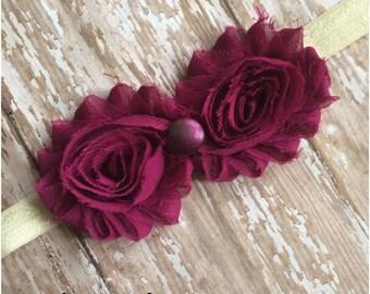 Eggplant Purple and Ivory Shabby Chic Flower Headband, Baby Headband, Toddler Headband, Girls Headband, Adult Headband, Hair Bow, Hair Piece