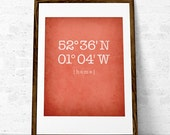 Custom coordinates print. Latitude and Longitude print coral wall art House warming gift Personalized home location print coordinates poster