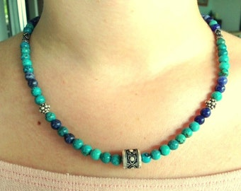 Natural Turquoise And Lapis Necklace 19 1/2 Inches Long - with Vintage Bali Sterling Silver Beads