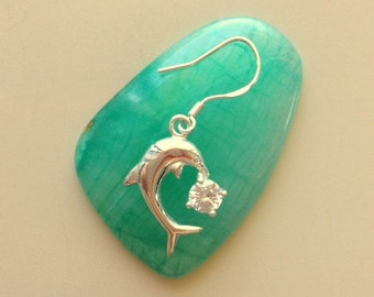 Silver Dolphin Dangle Earrings With Rhinestone - Ocean Theme Silver Dolphins