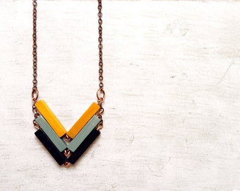 Wood Geometric Necklace // FASHIONISTA // Minimal Jewelry // Black-Yellow-Mint Hand-Painted Necklace // Modern Necklaces
