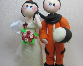 Funny wedding cake topper, Custom wedding cake topper, Astronaut cake topper, space cake topper