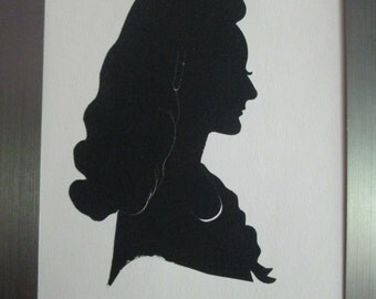 Silhouette Woman's Portrait Original Hand Cut  Profile Souvenir