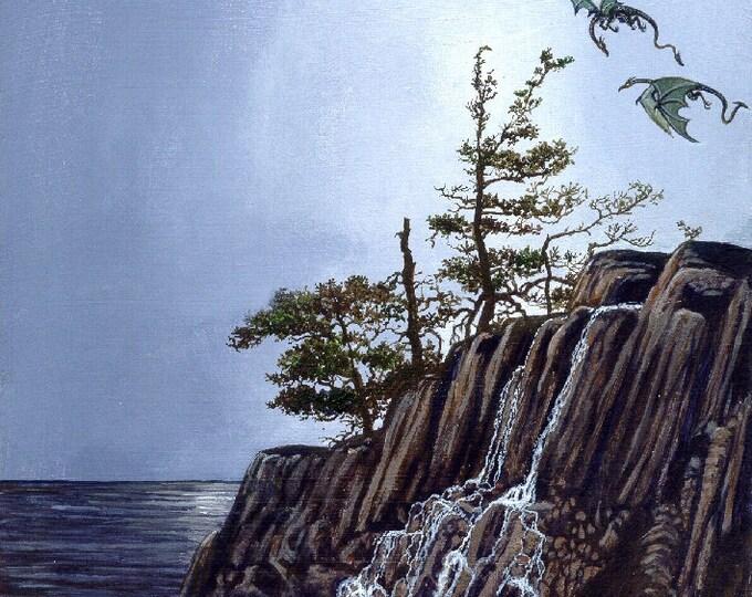 PRINT - DRAGONS - FANTASY: two green dragons, cliffs, waterfall, scene, nature, wilderness, lake, flying, fantasy art, wall art,