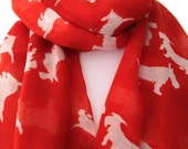 Scottie Dog Print Scarf Ladies Red and White Westie West Highland Terrier Scarf Sarong Shawl Scarlet Red Lipstick Red New Wrap