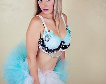 Alice in Wonderland  Costume / Rave Bra and Tutu
