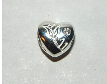 Authentic 925 Sterling Silver Charm Heart with Flower and Cubic Zirconia Stone no2208