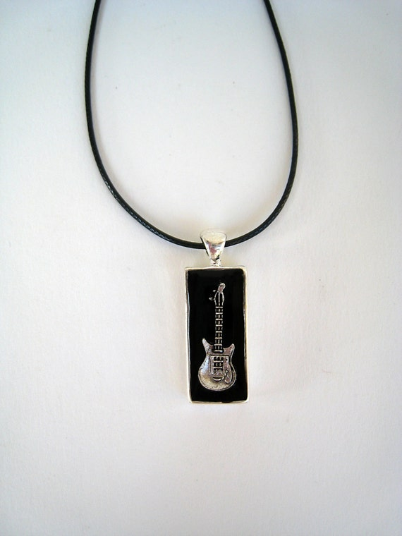 Electric Guitar necklace, guitarist pendant, guitar charm, unisex mens jewelry, black resin pendant, musician jewelry, music teacher gift