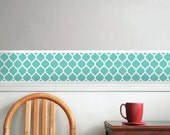 Lattice, Moroccan Design Pattern Room Border -Removable, Reusable Decal -Easy Application / Removal, Teal, Turquoise, CUSTOM COLOR!