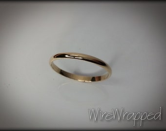 Shiny 14k SOLID Yellow Gold Ring or 14k SOLID White Gold Ring 2mm Plain Band
