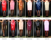 Pink, Red, Black Vinyl PVC Latex Patent Skirt Pencil 60% oFF 13 Colours Available