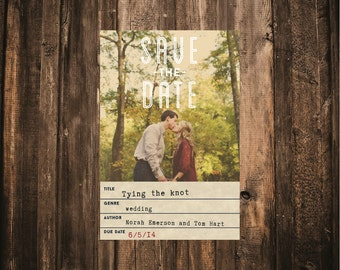 Library Card Photo Wedding Save the Date // 4.25x5.5 Card // DOWN PAYMENT // Literary Wedding, Library Wedding, Modern Wedding