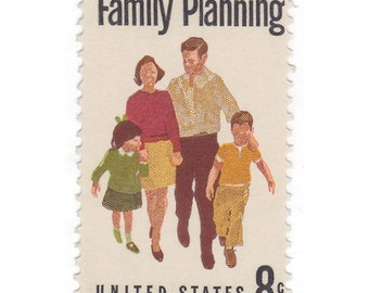 10 Unused Vintage Postage Stamps - 1972 8c Family Planning - Item No. 1455