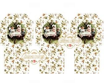 BABIEs TEA PARTY  -  Printable Download Digital Collage Sheet Tea Bag Holder Envelopes - Paper Cut Template