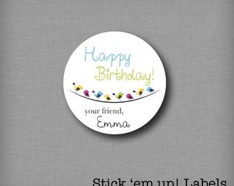 Custom Kids Birthday Present Labels, Personalized Gift Tags, Happy Birthday Stickers, Customized Birthday Stickers