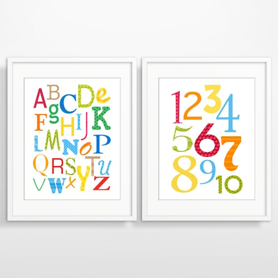 Alphabet Wall Decor Nursery : Nursery wall art decor alphabet poster kids
