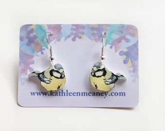 Blue tit bird drop earrings