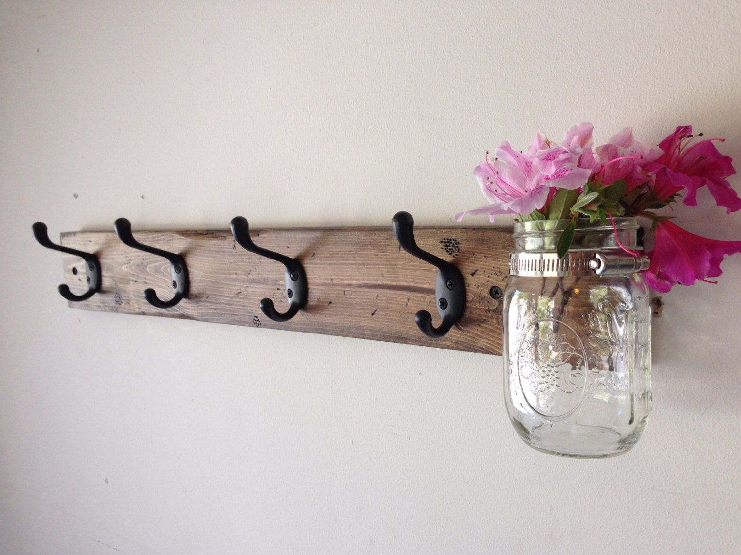 Rustic Wood Wall Coat Rack With Mason Jar Entryway Storage