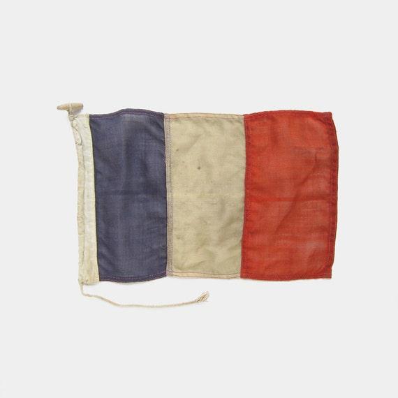 WWII Sewn Leinen Französische Flagge Frankreich Genäht Rot