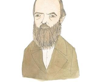 Fyodor Dostoyevsky -  Literary Portrait Print