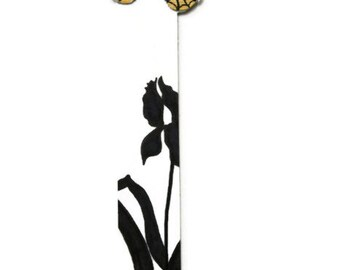 Butterfly Bookmark - Iris Silhouette - Yellow - Handmade - Hand Painted - Gift for the Gardener - Gift - Stocking Stuffer